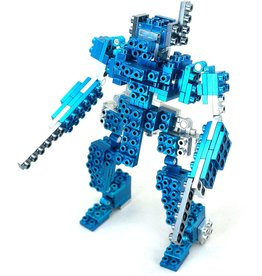 Metomics Series 001 - Azure Blue - Metal Building Block 3-n-1 Set (Mecha, Sparrow, T-Rex)