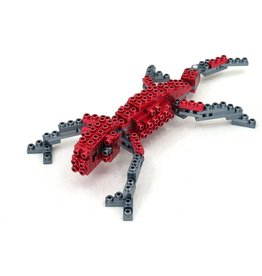 Metomics Series 002 - Ruby Red - Metal Building Block 3-n-1 Set (Gecko, Butterfly, Deer)