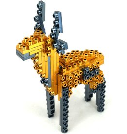Metomics Series 002 - Aztec Gold - Metal Building Block 3-n-1 Set (Deer, Gecko, Butterfly)