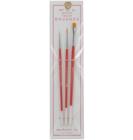 Atlas Brush Co. 55 - Taklon 3 Piece Artists Brush Set