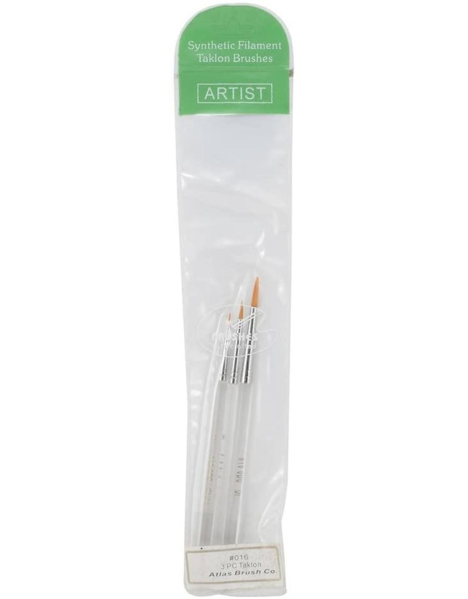 Atlas Brush Co. 016-3PS - Detail Round Taklon 3 Piece Brush Set