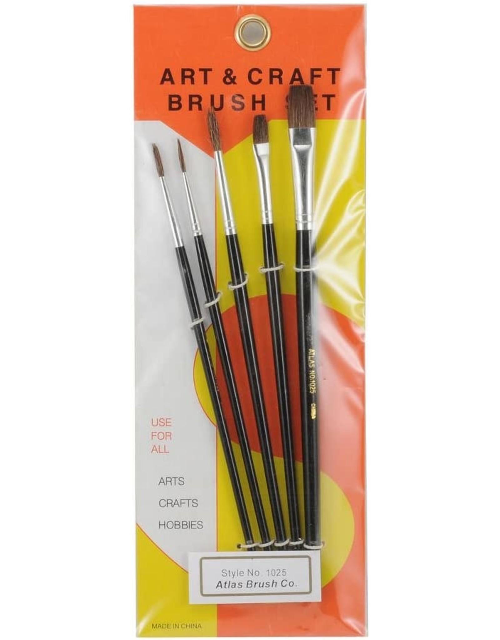 Atlas Brush Co. 1025 - Round and Flat Camel Hair 5 Piece Brush Set