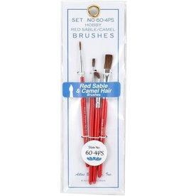 Atlas Brush Co. 60-4PS - Red Sable 4 Piece Flat/Round Brush Set