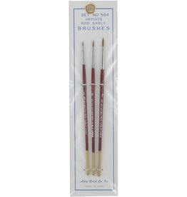 Atlas Brush Co. 58A - Red Sable 3 Piece Brush Set, 5/0-0-2