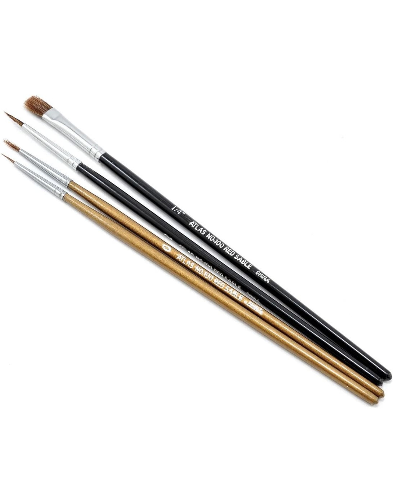 Atlas Brush Co. 1004PS - Camel/Sable 4 Piece Round/Flat Brush Set