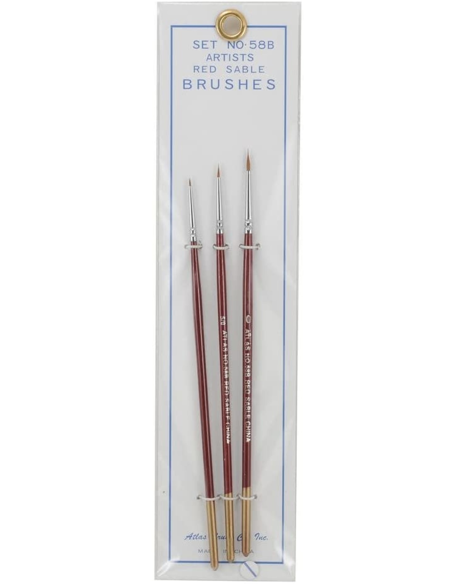 Atlas Brush Co. 58B - Red Sable 3 Piece Brush Set, 10/0-5/0-0
