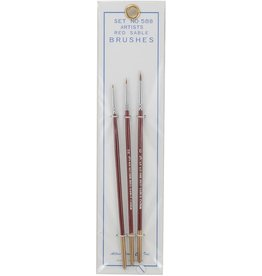 Atlas Brush Co. 58B - Red Sable 3 Piece Brush Set, 10/0-5/0-0