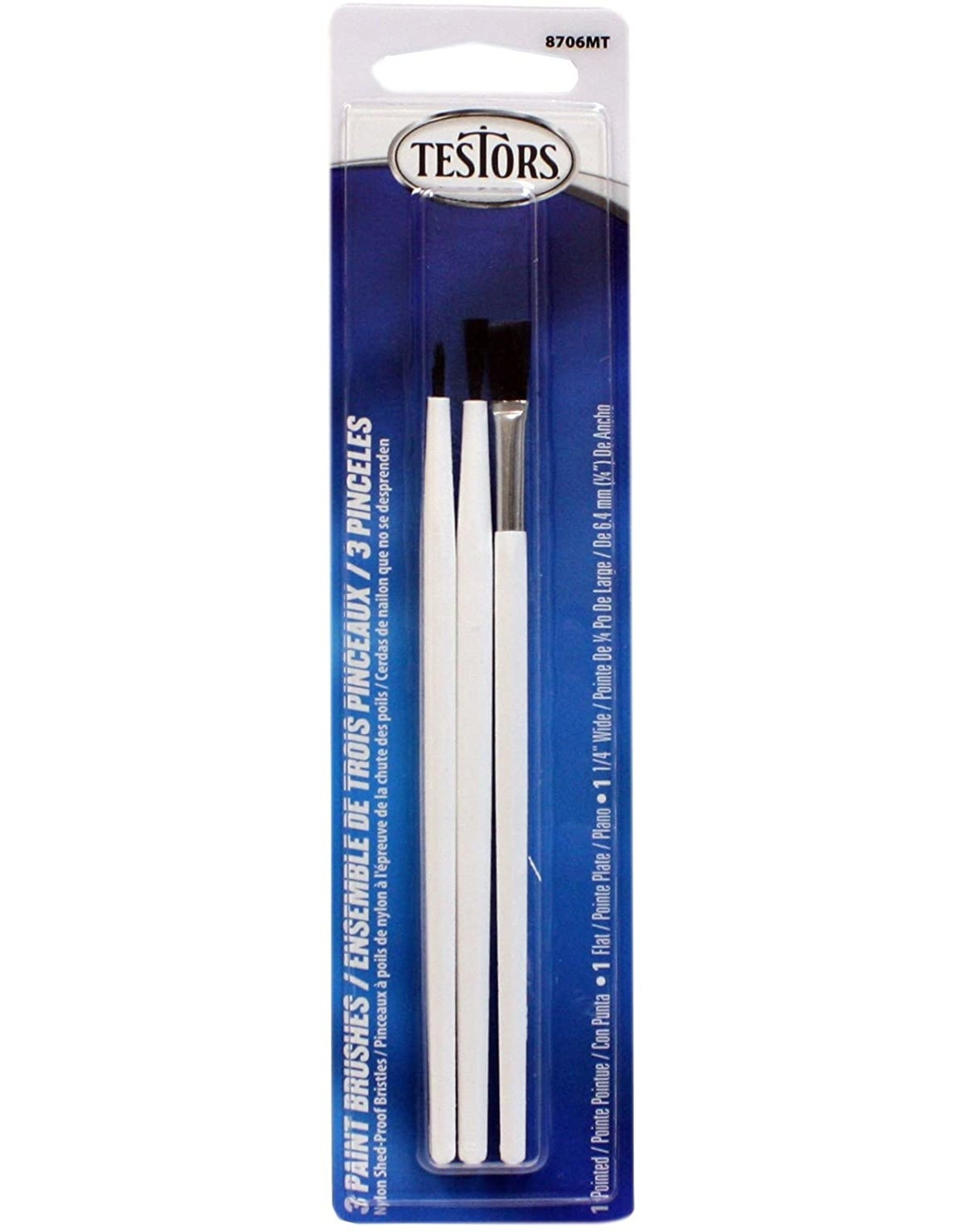 Testors 8706MT - 3 Piece Brush Set, Flat and Pointed