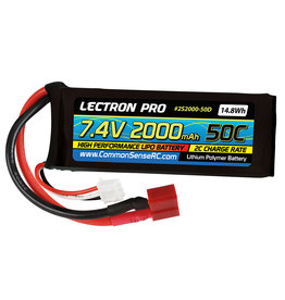 Common Sense RC 2S2000-50D - 7.4V 2000mAh 50C Lipo Battery with Deans-Type Connector