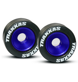 Traxxas 5186A - Machined Aluminum Ball Bearing Wheels with Rubber Tires - Blue