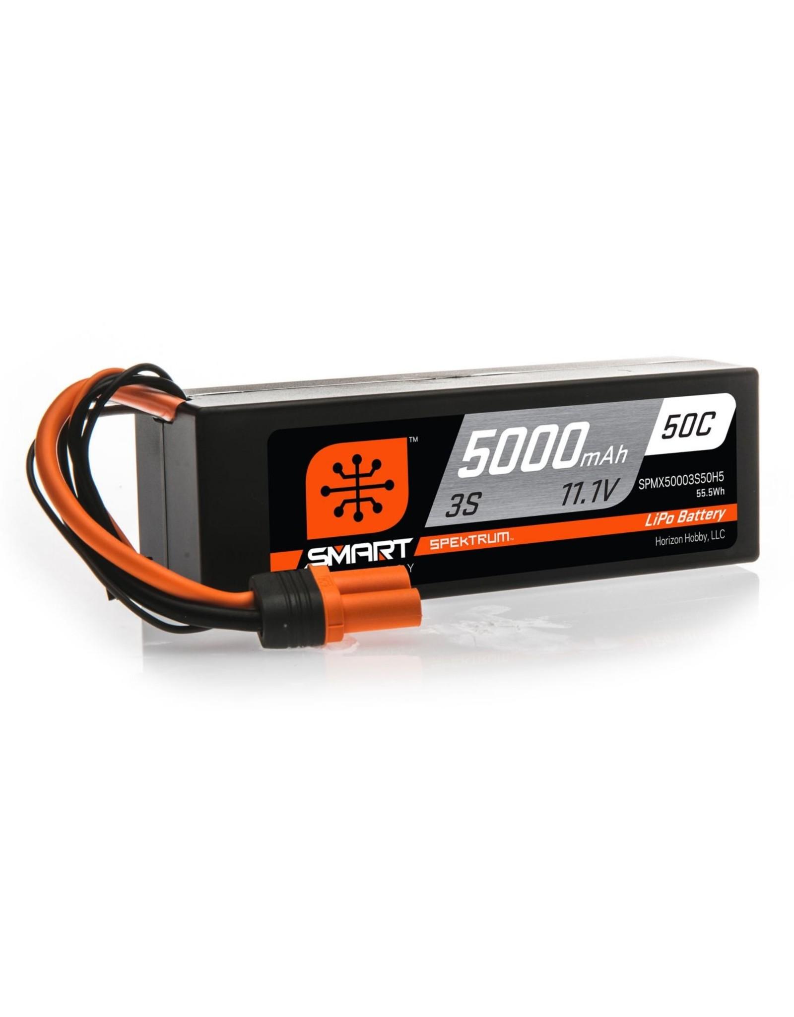 Spektrum SPMX50003S50H5 - 11.1V 5000mAh 3S 50C Smart Hardcase LiPo Battery: IC5