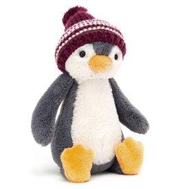 Jellycat Bashful Bobble Hat Penguin - Burgundy