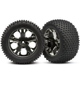 Traxxas 3770A - All-Star Black Chrome Wheels / Alias Tires - 2WD Electric Rear
