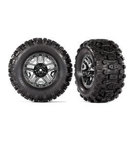 """Traxxas 9072 - Black Chrome 2.8"""" Wheels / Sledgehammer Tires"""