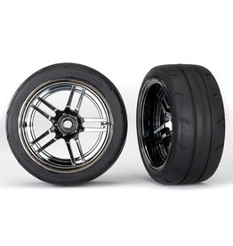"Traxxas 8374 - Split-Spoke Black Chrome Wheels / 1.9"" Response Tires - X-Wide"