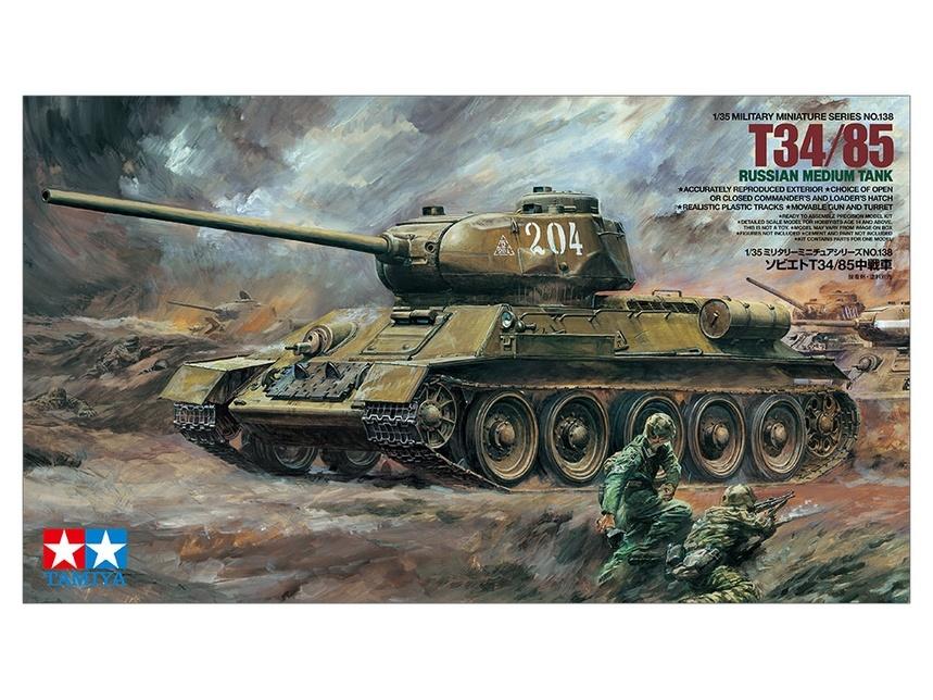 Tamiya 35138 1//35 Scale Military Model Kit WWII Russia Soviet Medium Tank T34-85
