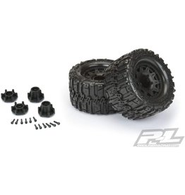 Pro-Line 10168-10 - Trencher HP 2.8 Belted Tires Mounted on Raid 6x30 Wheels - Black F/R