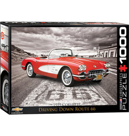 Eurographics 1959 Corvette Driving Down Route 66 - 1000 Piece Puzzle