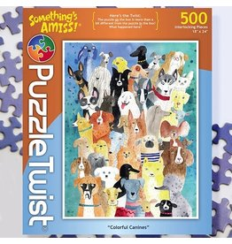 Puzzle Twist Colorful Canines - 500 Piece Puzzle