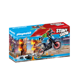 Playmobil 70553 - Stunt Show Motocross with Fiery Wall