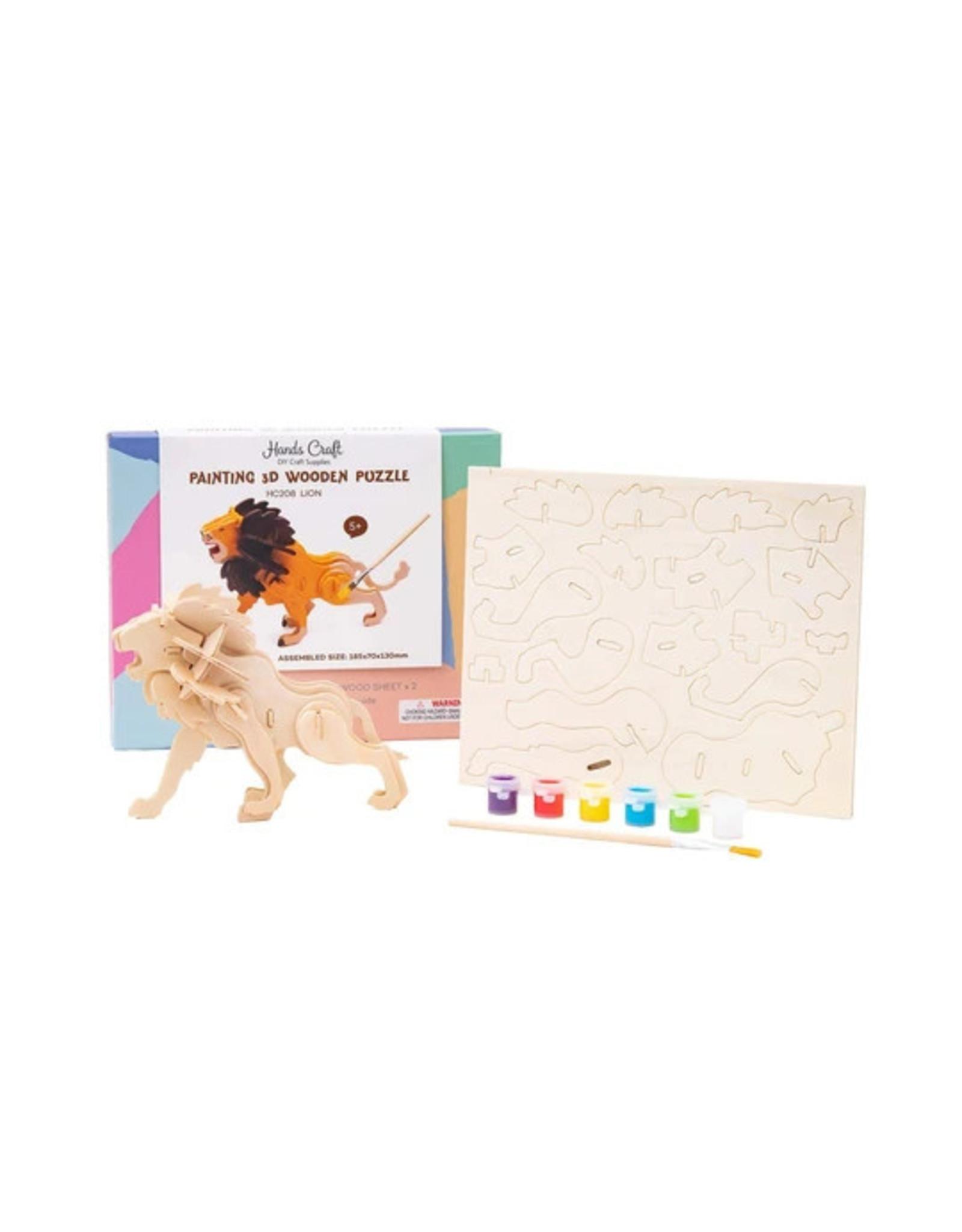 Hands Craft 3D Wooden Puzzle Paint Kit - Lion