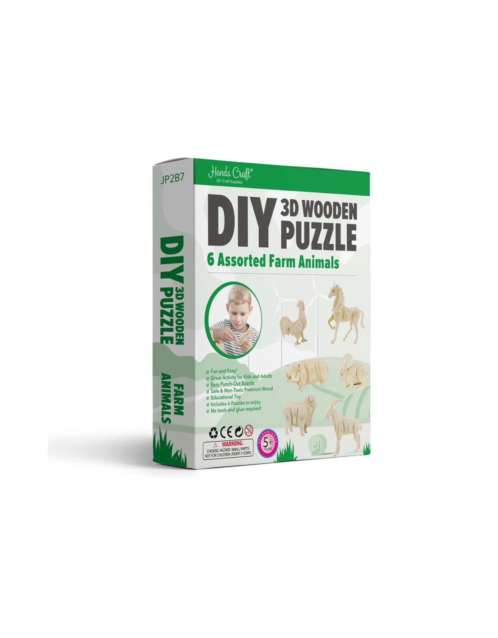 Hands Craft 3D Wooden Puzzle 6ct - Farm