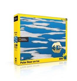 New York Puzzle Co Polar Bear on Ice - 500 Piece Puzzle
