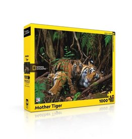 New York Puzzle Co Mother Tiger and Cub - 1000 Piece Puzzle