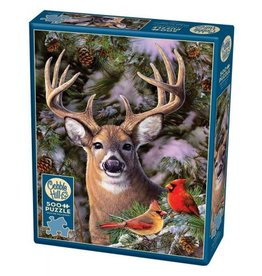 Cobble Hill One Deer Two Cardinals - 500 Piece Puzzle