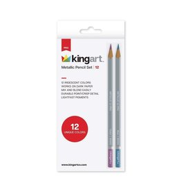 Kingart Metallic Colored Pencils in Tin - 12 Unique Colors