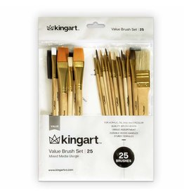 Kingart Mixed Media Brush Set - 25 Piece Set