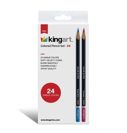 Kingart Soft Core Colored Pencils in Tin - 24 Unique Colors