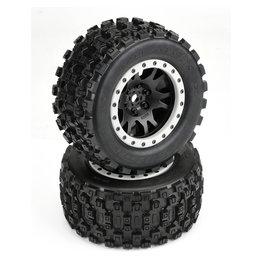 Pro-Line PRO1013113 - Badlands MX43 Pro-Loc Mounted, Impulse Black Wheels with Grey Rings: X-Maxx