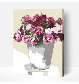 Wise Elk Artwille - Flowers (Pink in White Vase) DIY Paint by Numbers