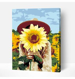Wise Elk Artwille - Girl with Sunflower DIY Paint by Numbers