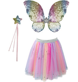 Great Pretenders Rainbow Sequins Skirt, Wings and Wand