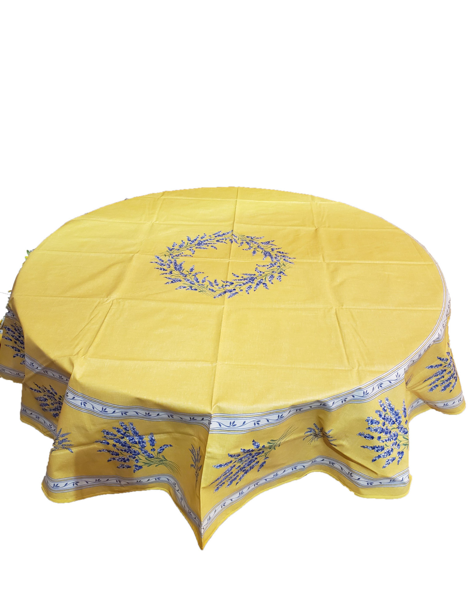"""70"""" Round Coated Yellow with Lavender"""