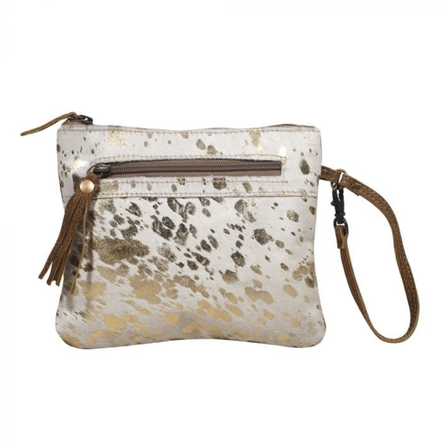 Myra 2081 Spotted Leather Pouch Society Boutique Myra bag cowhide purse handbag medium leather accents vintage fashion. myra handbags myra 2081 spotted leather pouch