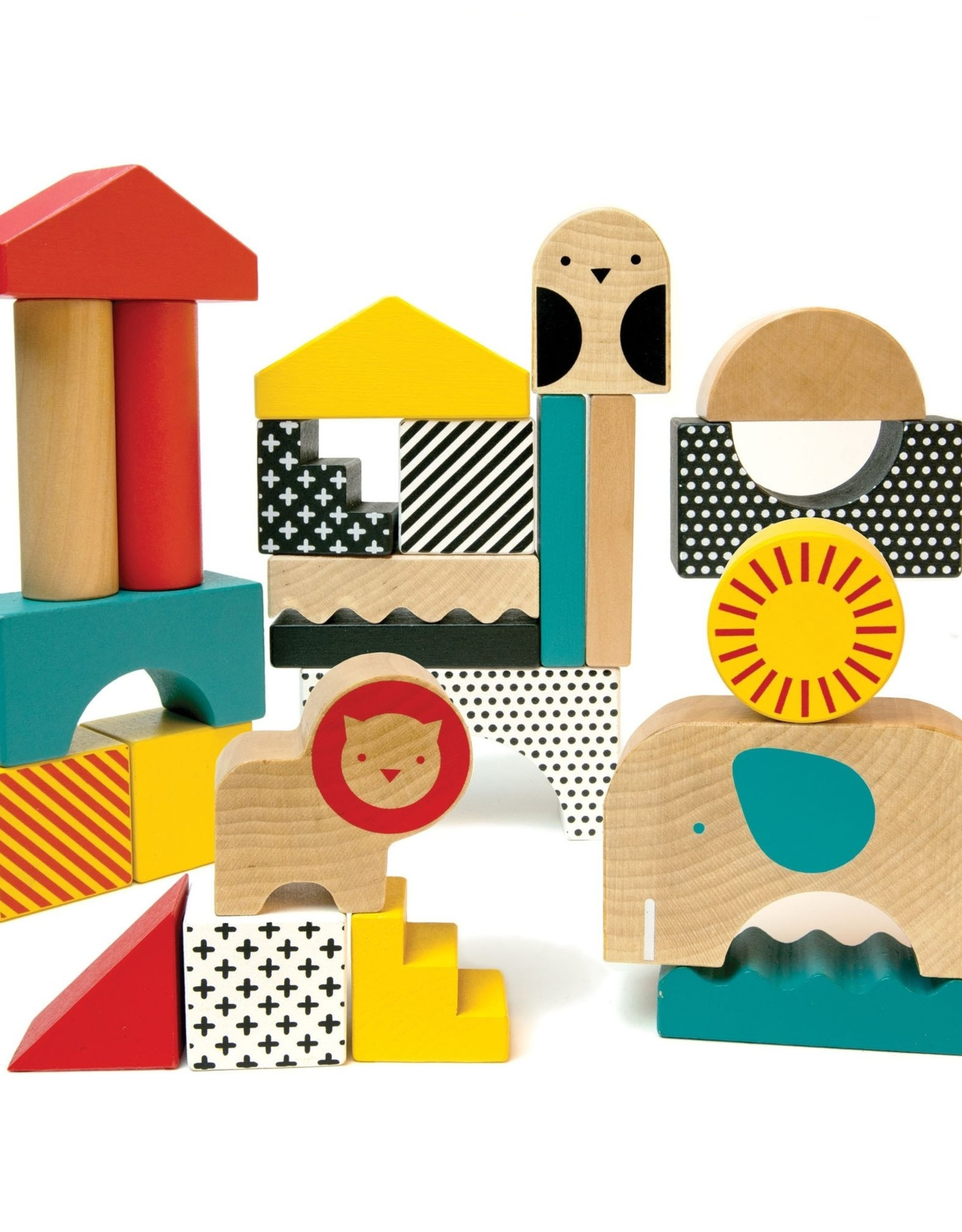Petit Collage Petit Collage Animal Town Wooden Blocks & Puzzle Set