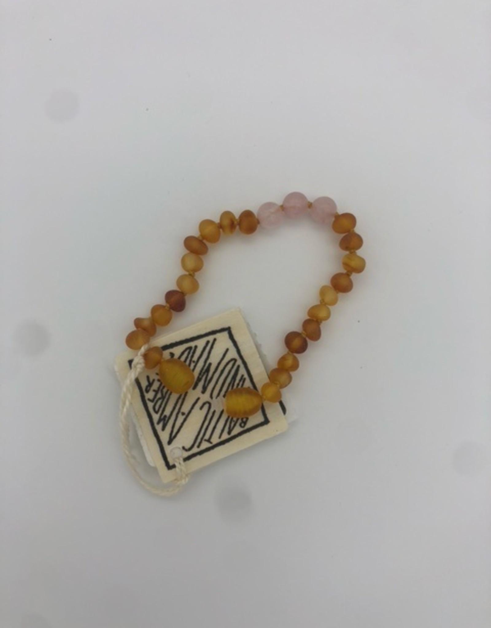 Canyon Leaf Canyon Leaf - Raw Honey Amber + Rose Quartz Bracelet