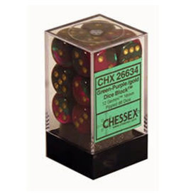 Chessex Gemi: Green-Purple/Gld d6 (12)