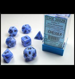 Chessex Snow Blue/Black (7) Lab Dice Vortex