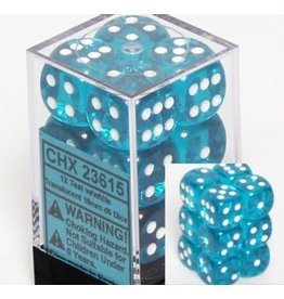 Chessex Translucent 16mm d6 Teal white (12 dice)