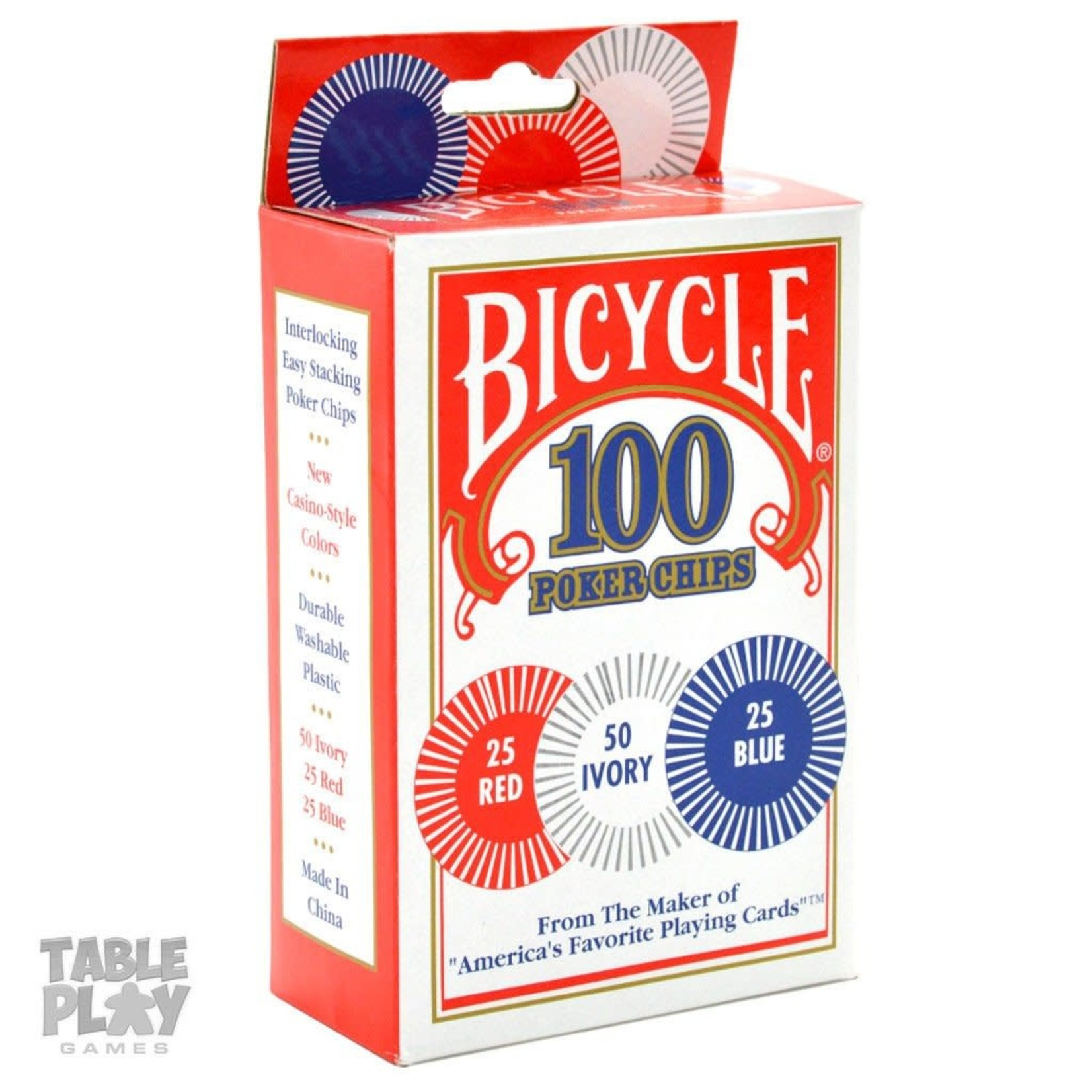 The United States Playing Card Company Bicycle 100 Plastic Poker Chips 2g