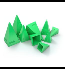 Looney Labs Pyramid Arcade Green Pyramids (set of 9) and bonus cards