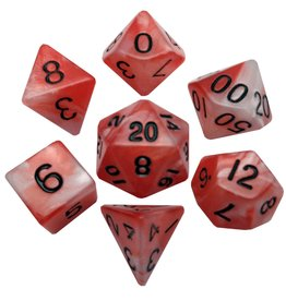 Metallic Dice Games Combo Attack Red/White w/Black Poly Dice Set