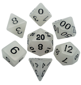 Metallic Dice Games Glow Clear Poly Dice Set