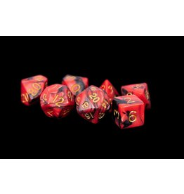 Metallic Dice Games Red/Black w/Gold 16mm Dice Set