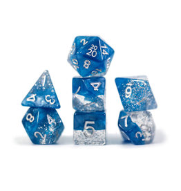Gate Keeper Games Halfsies Glitter Blue Dice 7 set
