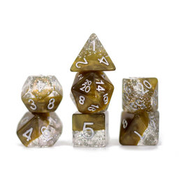 Gate Keeper Games Halfsies Glitter Gold Dice 7 set